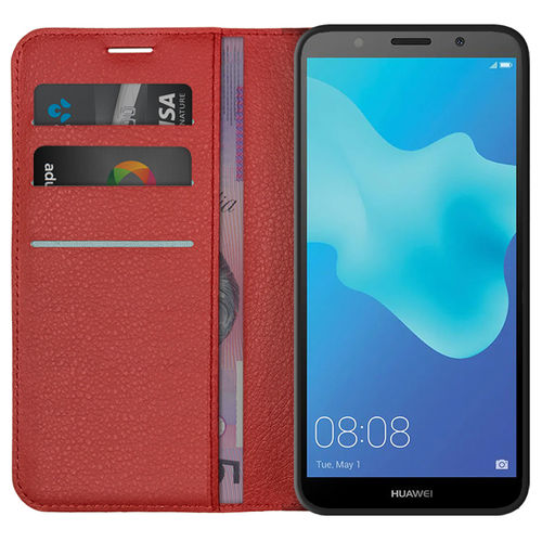 Leather Wallet Case & Card Holder Pouch for Huawei Y5 (2018) - Red